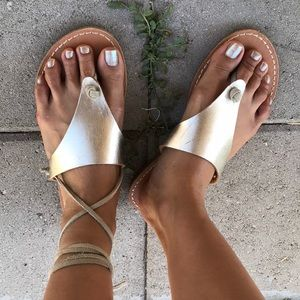 Gold Soludos thong sandals ~ size 7